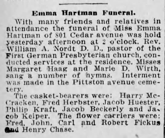 Emma Hartman Funeral - Emma Hnrtman Funeral. With many friends and...