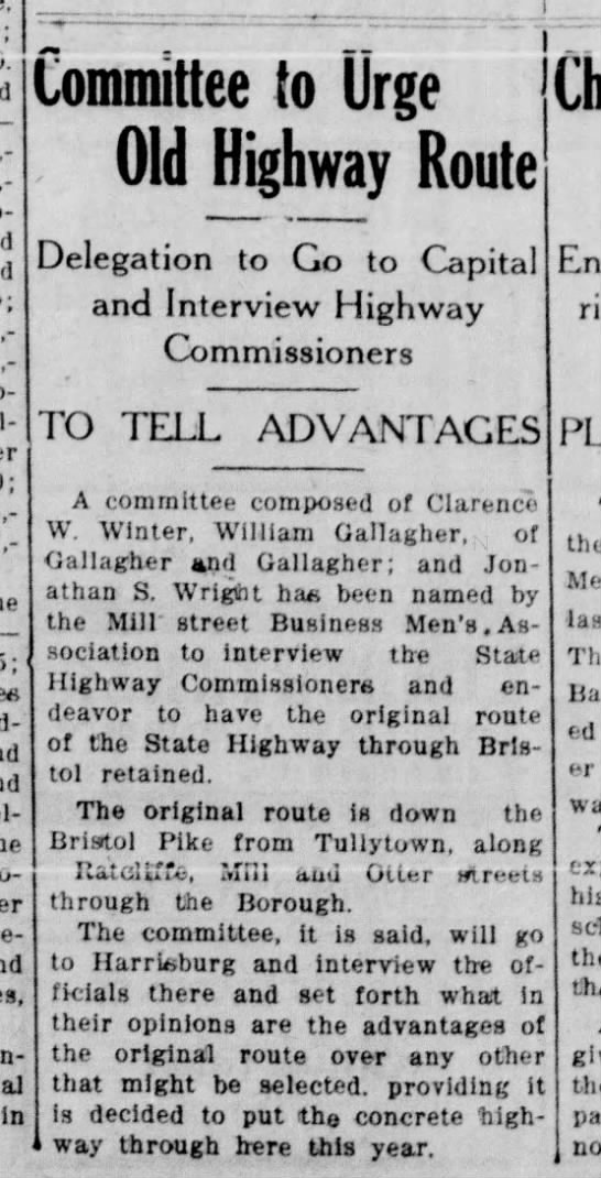 1923 Mill St Bus Men State Highway Commissioners 12.28.1923 BDC - — remanufacture. In Committee to Urge Old...