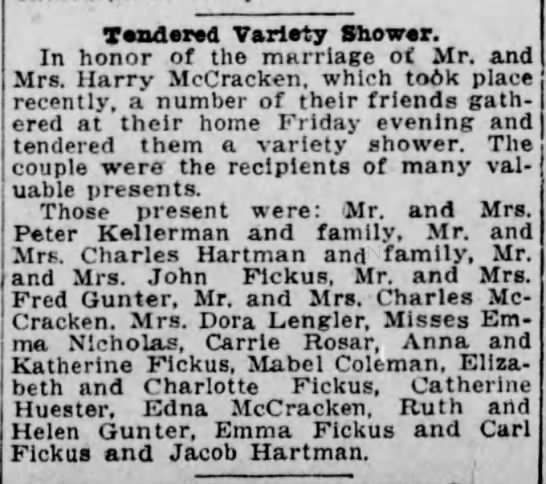McCracken Wed Party - Tendered Variety Shower. In honor of the...