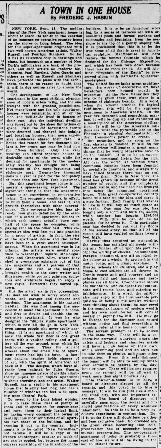 The Scranton Republican (Scranton, Pennsylvania) 19 September 1916  Page 2 - . is is - A TOWN IN ONE HOUSE By FREDERIC J....