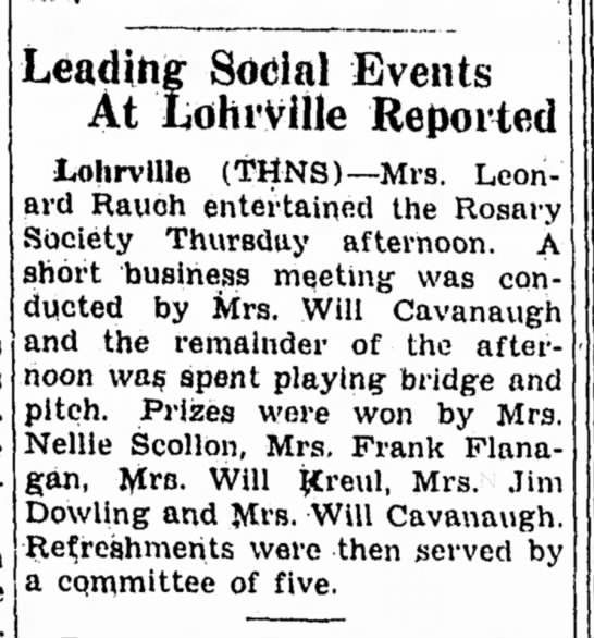 Carrol Daily Times HeraldCarroll, IowaTuesday, October 17, 1944p 3 - is Leading Social Events At LohrVille Reported...