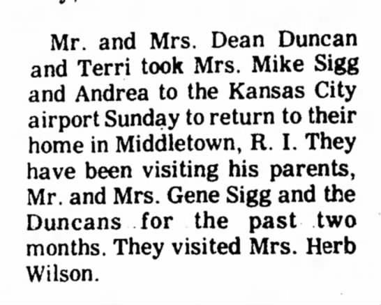 Carolyn Duncan (Sigg) - family visit 1972 - Mr. and Mrs. Dean Duncan and Terri took Mrs....