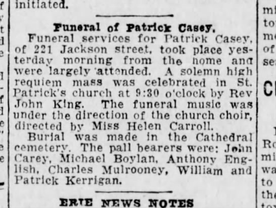 Patrick Casey Funeral 8mar1923 - initiated. rnneral of Patrick Casey, Funeral...