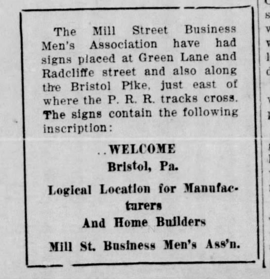 1924 MSBMA post Welcome Signs 8.14.1924 BDC - The Mill Street Business .Men's Association...
