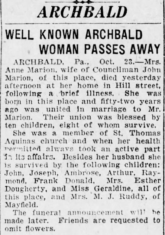 - ARCHBALD WELL KNOWN ARCHBALD WOMAN PASSES AWAY...