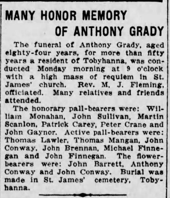 Anthony Grady 11-8-1916The Scranton Republican - MANY HONOR MEMORY OF ANTHONY GRADY The funeral...
