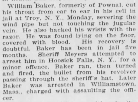 A relative? - William Baker, formerly of Pownal, cut his...