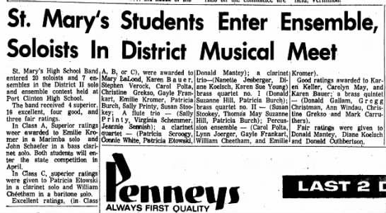 Tom in District Musical Meet - St. Mary's Soloists In Students Enter Ensemble,...