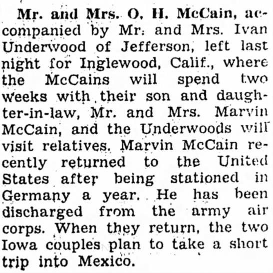 5 Oct 1946 Carrol Daily Times Hearld, Carrol, Iowa - Mr. and Mrs. O, II. McCain, accompanied...