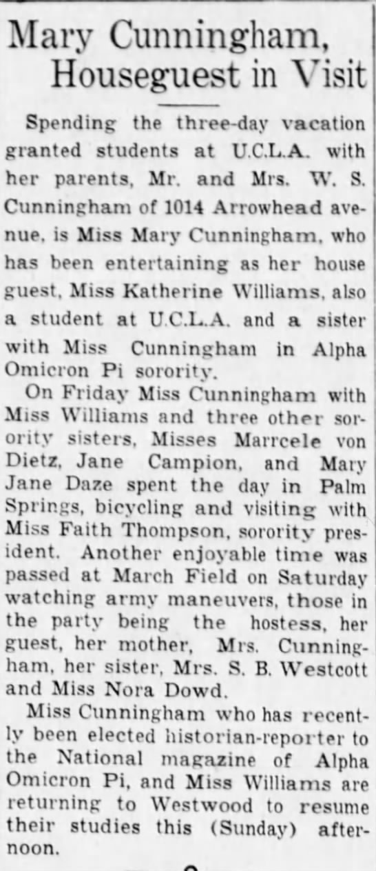 Grandma UCLA break - Miss Faith Thompson, sorority pres-promising...