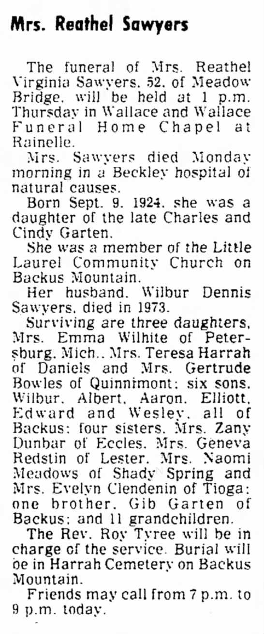 Reathel Sawyers Obit, The Raleigh Register, 26 Jan 1977, Wed - in to M u l l e n s l H o m e . o r A u b r e y...