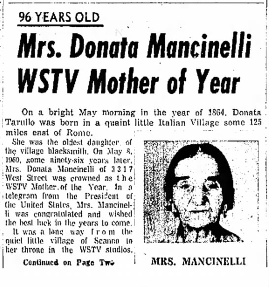 Donata Tarullo, Mother of the year 1960 - 96 YEARS OLD | m b e n t ; ; o n- ] Mrs....