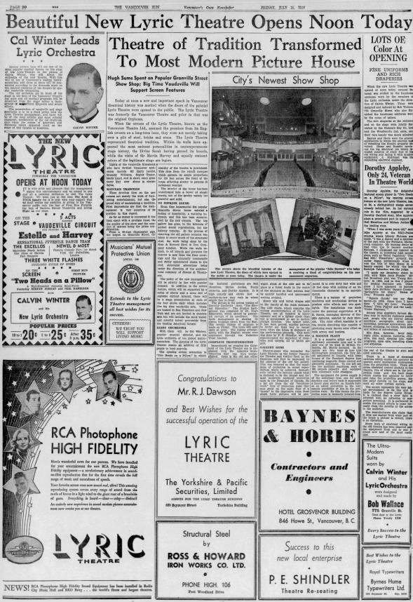 Lyric theatre opening
