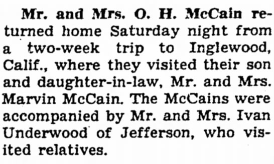 21 Oct 1946 Carrol Daily Times Herald,Carroll, Iowa - Mr. and Mrs. O. H. McCain returned returned...