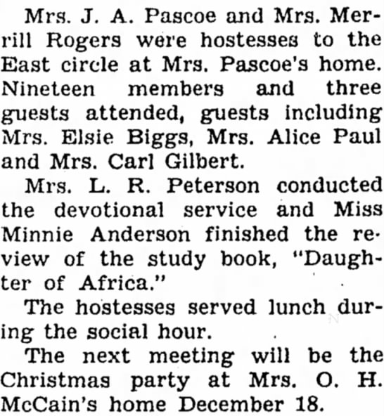 21 Nov 1946 Carroll Daily Times Herald Elsie Biggs and McCain - Mrs. J. A. Pascoe and Mrs. Merrill Merrill...