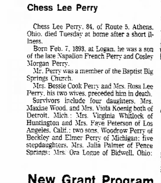 Chess Perry son of Conley perry - Chess Lee Perry Chess Lee Perry. 84, of Route...