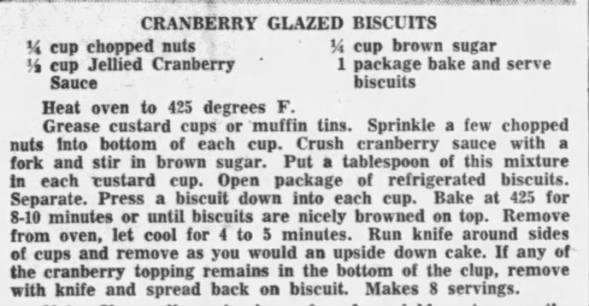 Cranberry Glazed Biscuits recipe, 1956