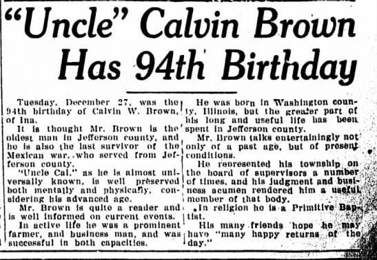 "- ""Uncle"" Calvin Brown Has 94th Birthday Tuesday...."
