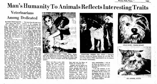 Lenord Pensis Veterinarian - Werrton Daily Times, ' 1965 Man's Humanity To...