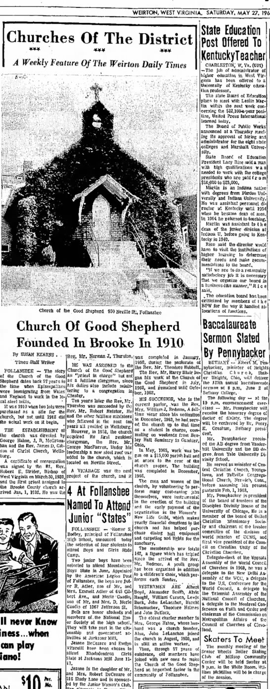 Good Shepherd Church history, Follansbee WV (Hahne) - WEIRTON, WEST VIRGINIA. SATURDAY, MAY 27....