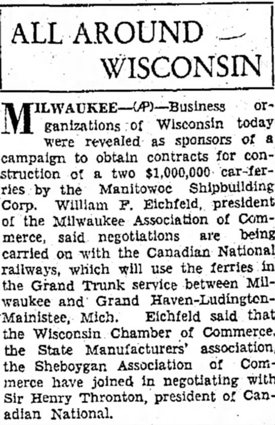 William F. Eichfeld - Pres. of the Milwaukee Association of Commerce - 22 March 1930 - ALL AROUND WISCONSIN were revealed as sponsors...