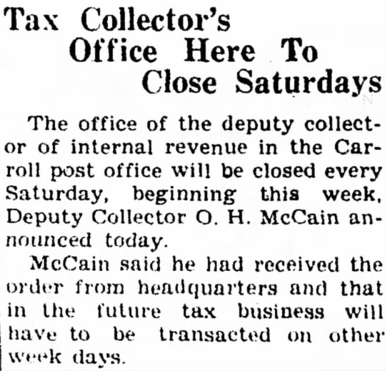 30 Aug 1945 Carroll Daily Times Herald,Carroll, Iowa - Tax Collector's Office Here To Close Saturdays...