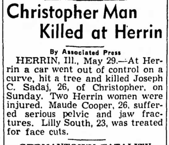 - Christopher Man Killed at Herrin By Aiioclated...
