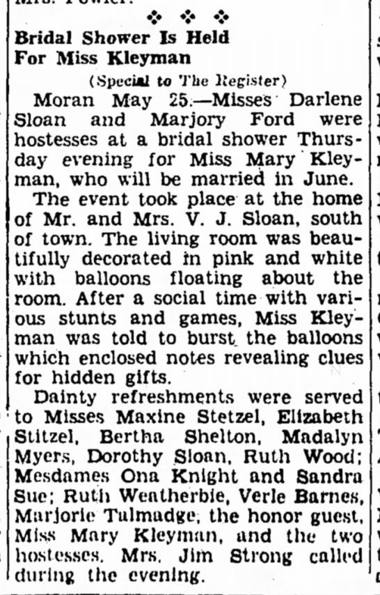 Mary Kleyman - bridal shower 1940 - •:• • • Bridal Shower Is Held For Miss Kleyman...