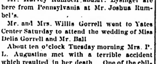 Mention of Delia Gorrell and Mr. Ball wedding Iola Register 13 March 1891 Page 4 - here from Pennsylvania at Mr. Joshua Uum-...