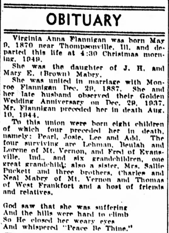 - OBITUARY Vlrclnla Anna Flatinliran was horn May...