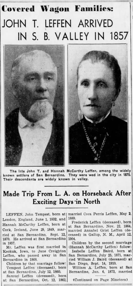 John Tempest Leffen, Pioneer of San Bernardino Valley - Covered Wason Families: JOHN T. LEFFEN ARRIVED...