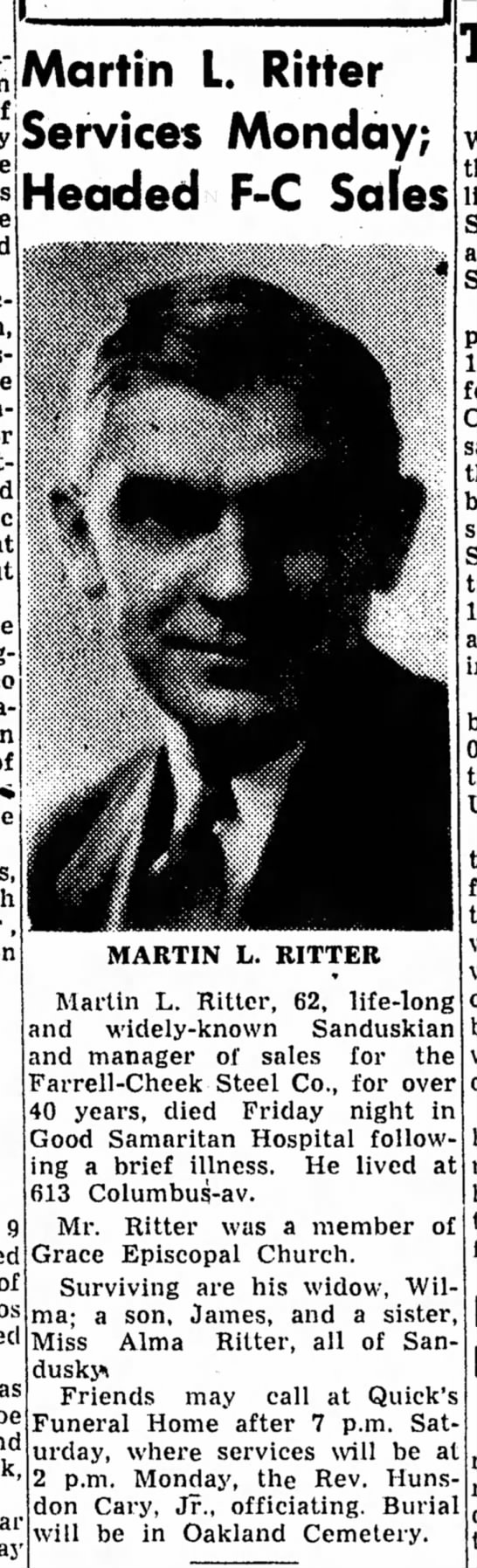 Martin L. Ritter's Obit - Martin L. Ritter • • • byjaefVICGS IVlOndCly;...