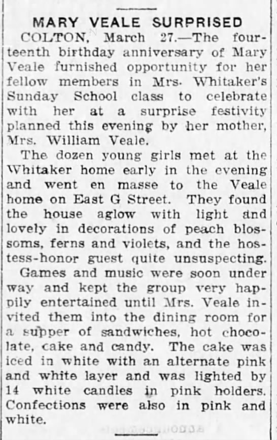 1922-03-28 WHITAKER, MRS - DAUGHTER OF MRS WILLIAM VEALE. - MARY VEALE SURPRISED COLTON, March 27. The four...
