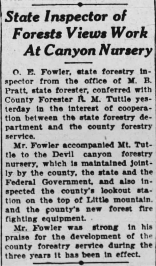 1927-7-27 State Inspector of Forests Views Work At Canyon Nursery - State Inspector of Forests Views Work At Canyon...