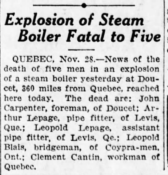 Carpenter 2 - Explosion of Steam Boiler Fatal to Five QUEBEC,...