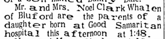 Sandra-Whalen-birth-announcement-1950 - Mr. and Mrs. Noel Cla.rk Whalen of Bluford are...