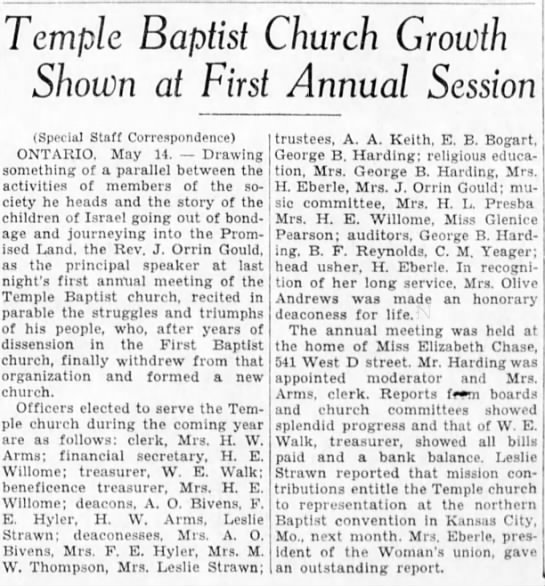 Bivens - Temple Baptist Church Growth Shown at First...