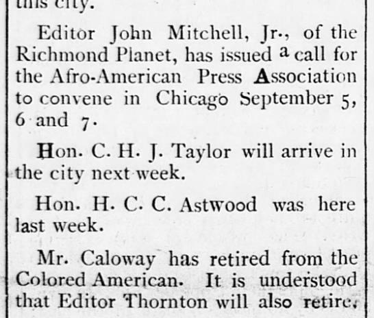 1893-07-22-WashingtonBee-p1-[TaylorInDC] - Editor John Mitchell, Jr., of the Richmond...