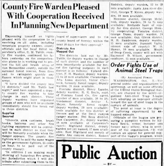 County Fire Warden Pleased  1925/10/4 - County Fire Warden Pleased With Cooperation...