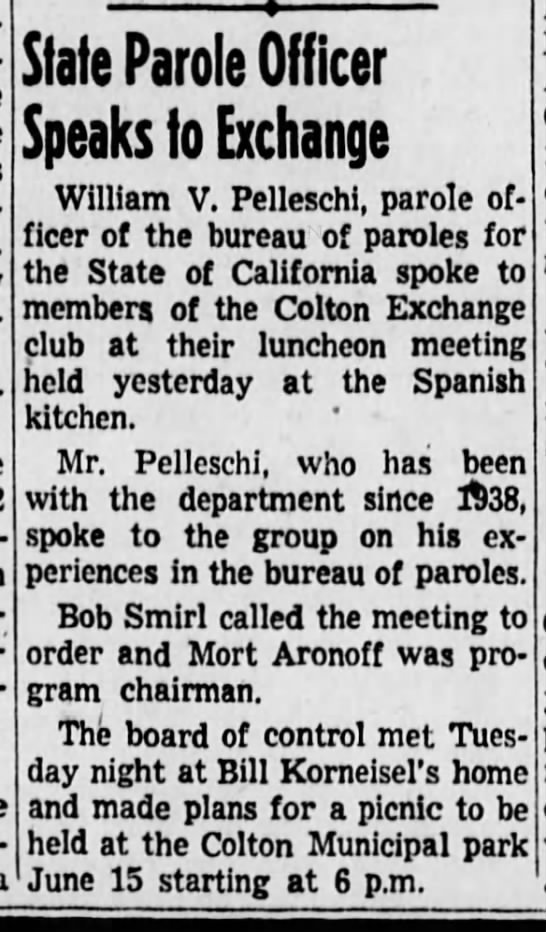 1949 May 26 Bill Korneisel plan picnic Colton Municipal Park State Patrol speaks - State Parole Officer Speaks to Exchange William...