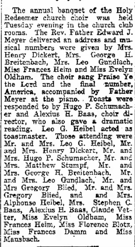 The Capital TimesMadison, WIFriday, February 21, 1919Leo G Heibel & Alphonse Heibel - j The annual banquet of the Holy Redeemer...