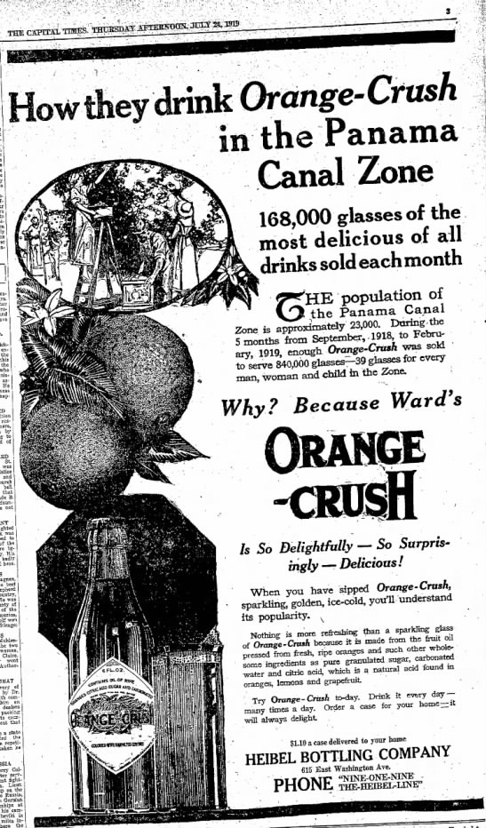 Thursday, July 24, 1919 - - to client - How they drink Orange - Crush tne...