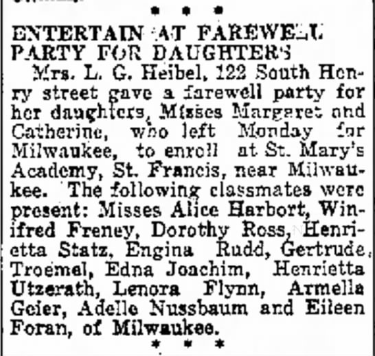 Thur, Sep 15, 1921 - ENTERTAIN AT FAREWELL PARTY FOR DAUGHTER'S Mrs....
