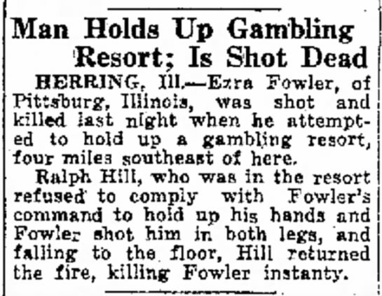 Man Holds Up Gambling Resort; Is Shot Dead, The Captial Times (Madison, WI), 5 Jun 1923 - Man Holds Up Gambling Resort: Is Shot Dead...