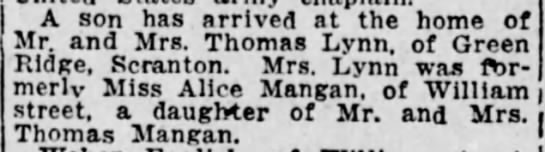 Thomas A Lynn Jr birth announcement 1918 - A son has arrived at the home of Mr. and Mrs....