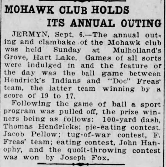 Mulholland's Grove at Hart Lake? - MOHAWK CLUB HOLDS ITS ANNUAL OUTING JERMYX,...