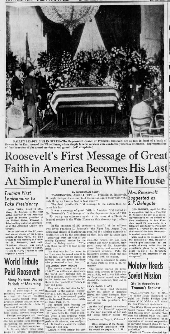 Roosevelt's funeral - FALLEN LEADER LIES IN STATE The flag-covered...