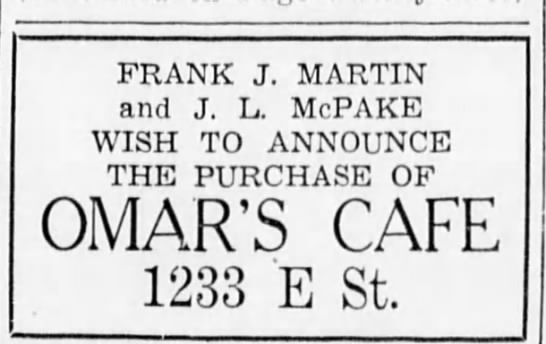 Jack McPake café owner! - FRANK J. MARTIN and J. L. McPAKE WISH TO...