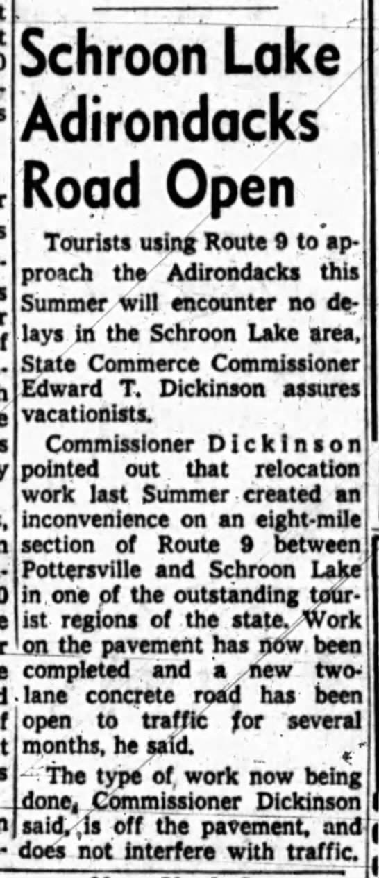 Schroon Lake, NY News - i Avia- 'on the pavement has now been completed...