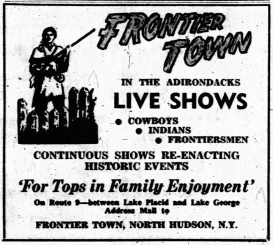 Frontier Town News - IN THE ADIRONDACKS LIVE SHOWS .. Cowboys...